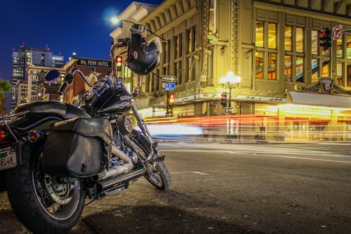 Free stock photo of car lights, city lights, downtown, harley davidson