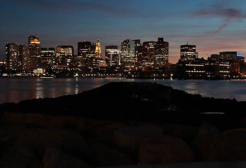 Бесплатное стоковое фото с bosto, горизонт, ночные огни, ночь