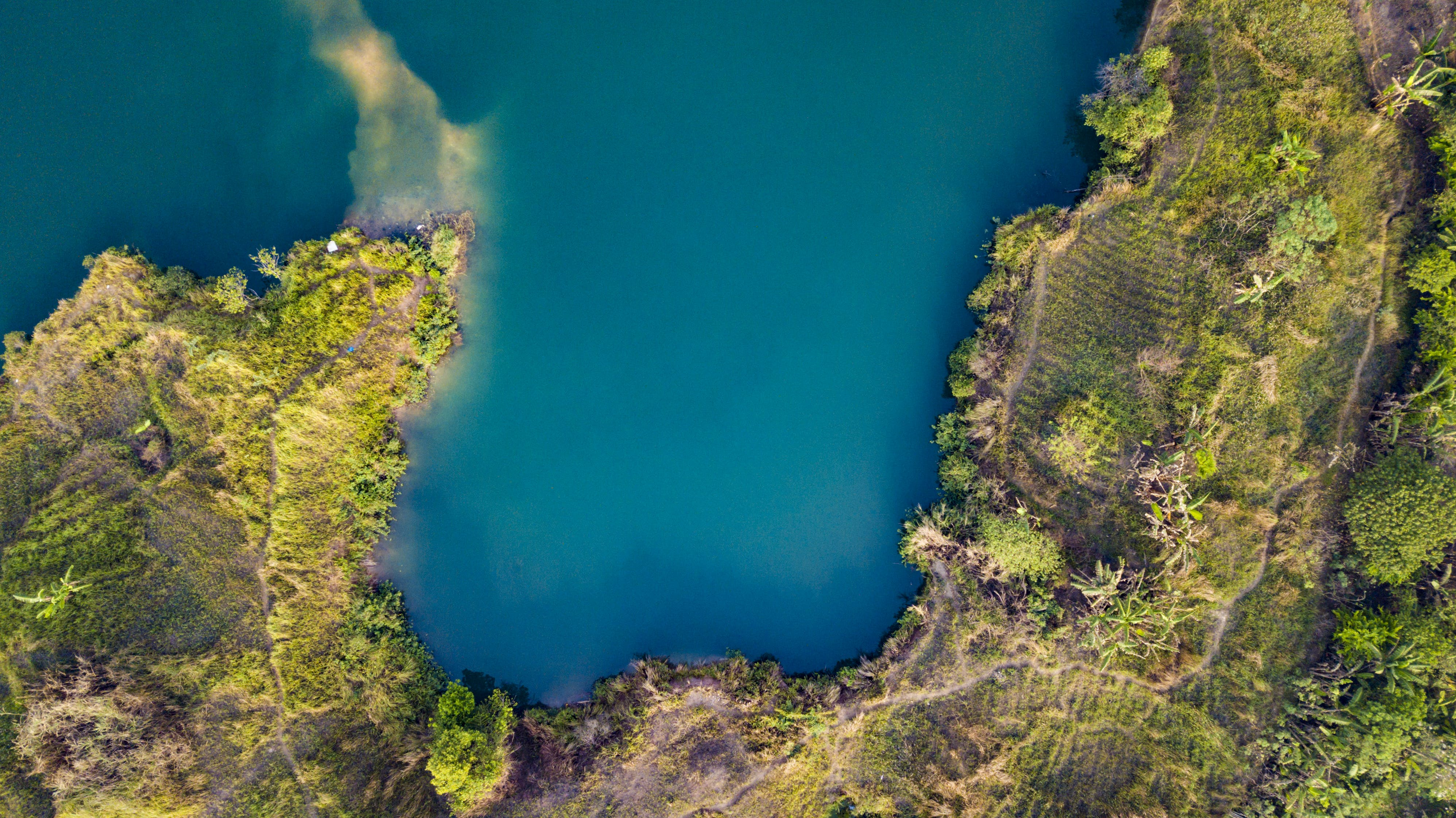 Aerial View of Land and Body of Water