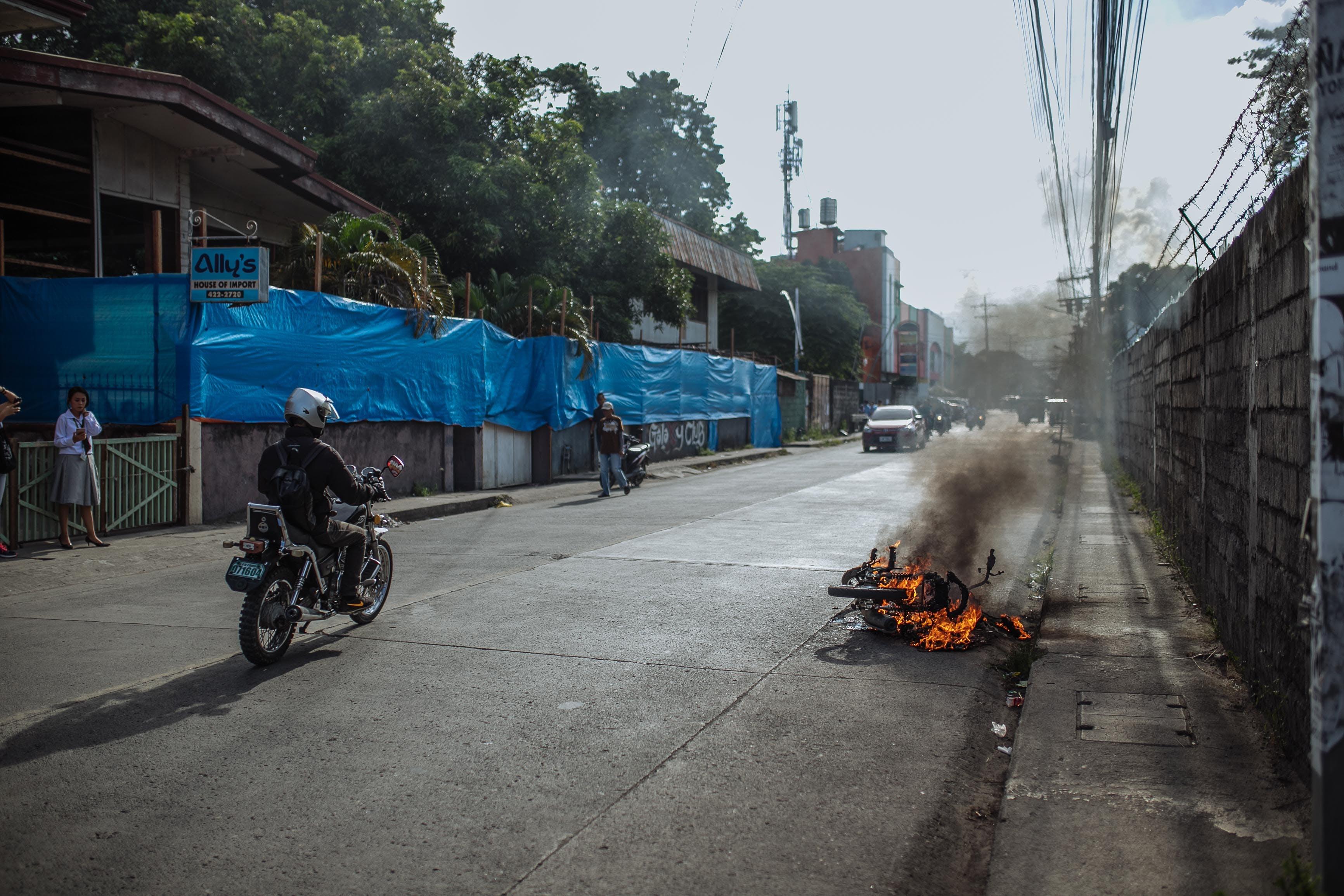 Free stock photo of daily news, fire, motorbike