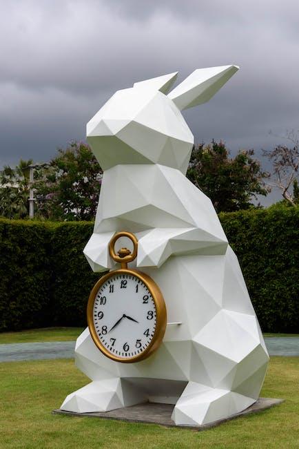 White Rabbit Holding Gold Frame Pocket Watch Statue 183 Free