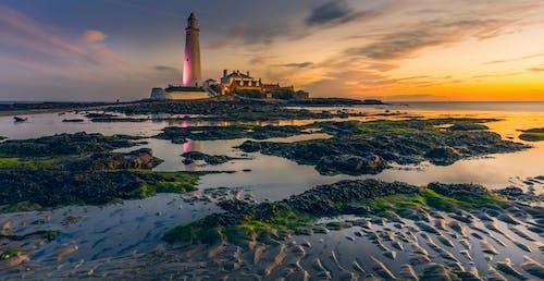 Безкоштовне стокове фото на тему «берег моря, відлив, вежа, вечір»
