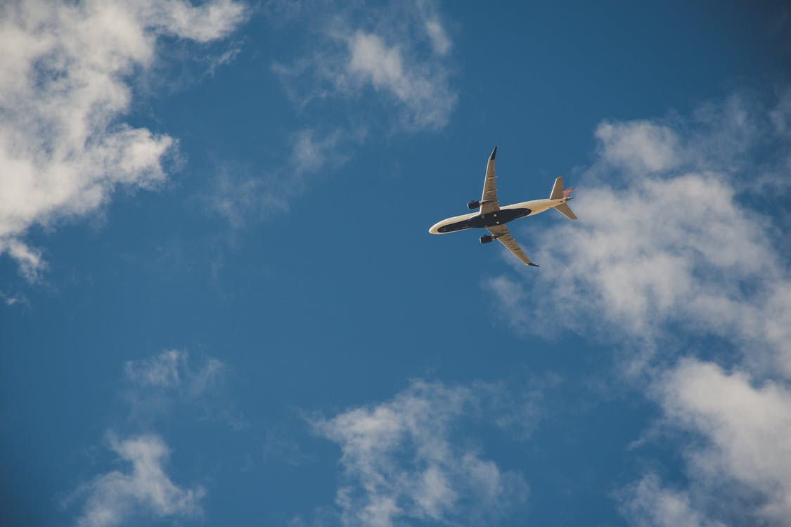 Worms Eye View of Airplane Flying on Sky