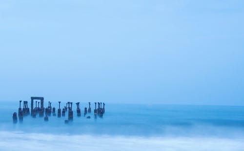 Foto stok gratis air, biru, laut, long exposure