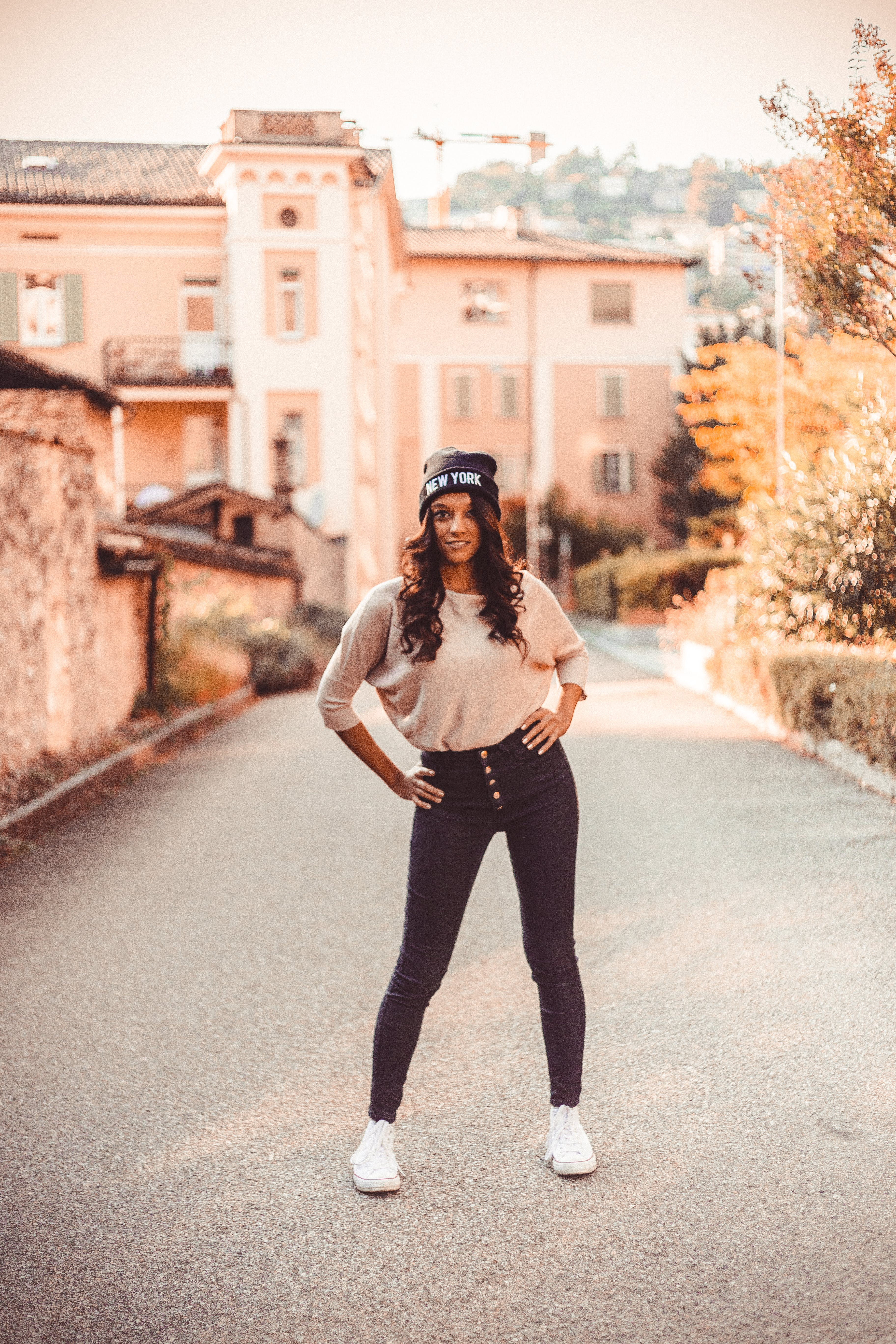 Woman Posing On The Road