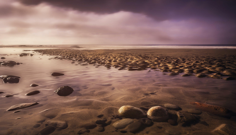 Seashore With Rocks at Sunset