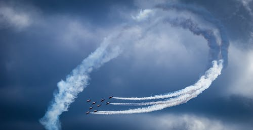 Photo of Airplanes Performing Aerobatics