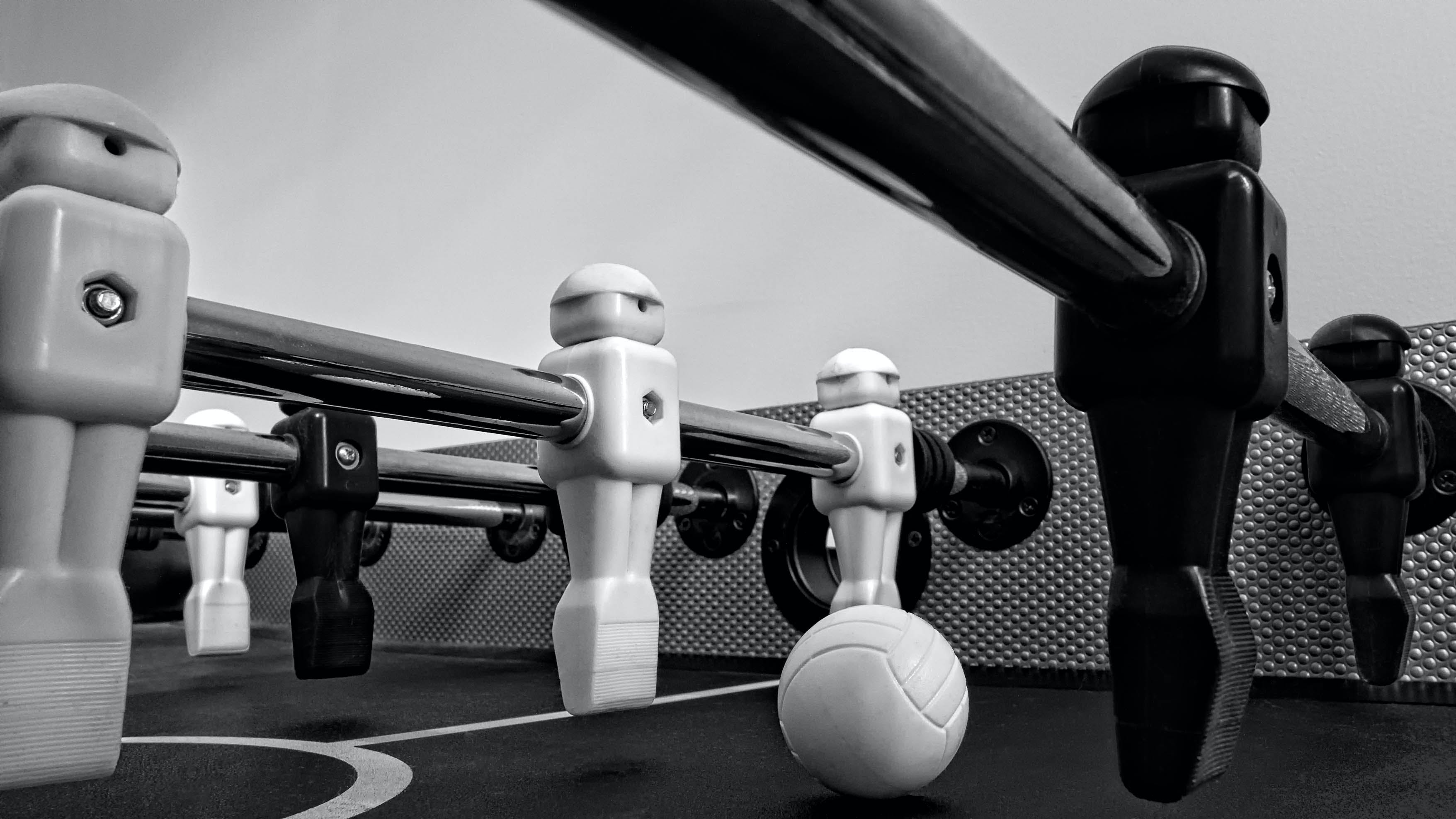 White and Black Foosball Table
