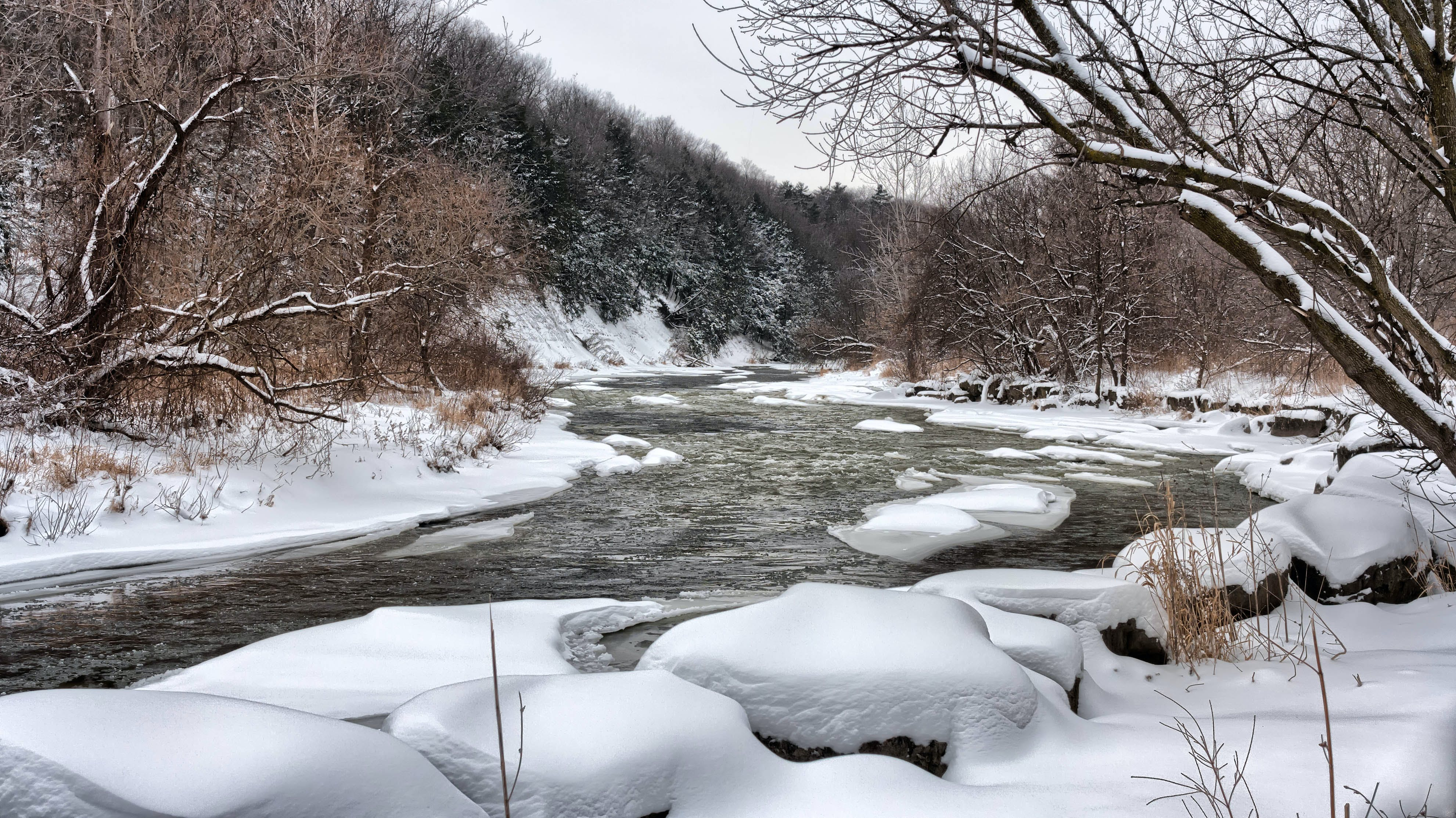 River at Snowy Day Photo