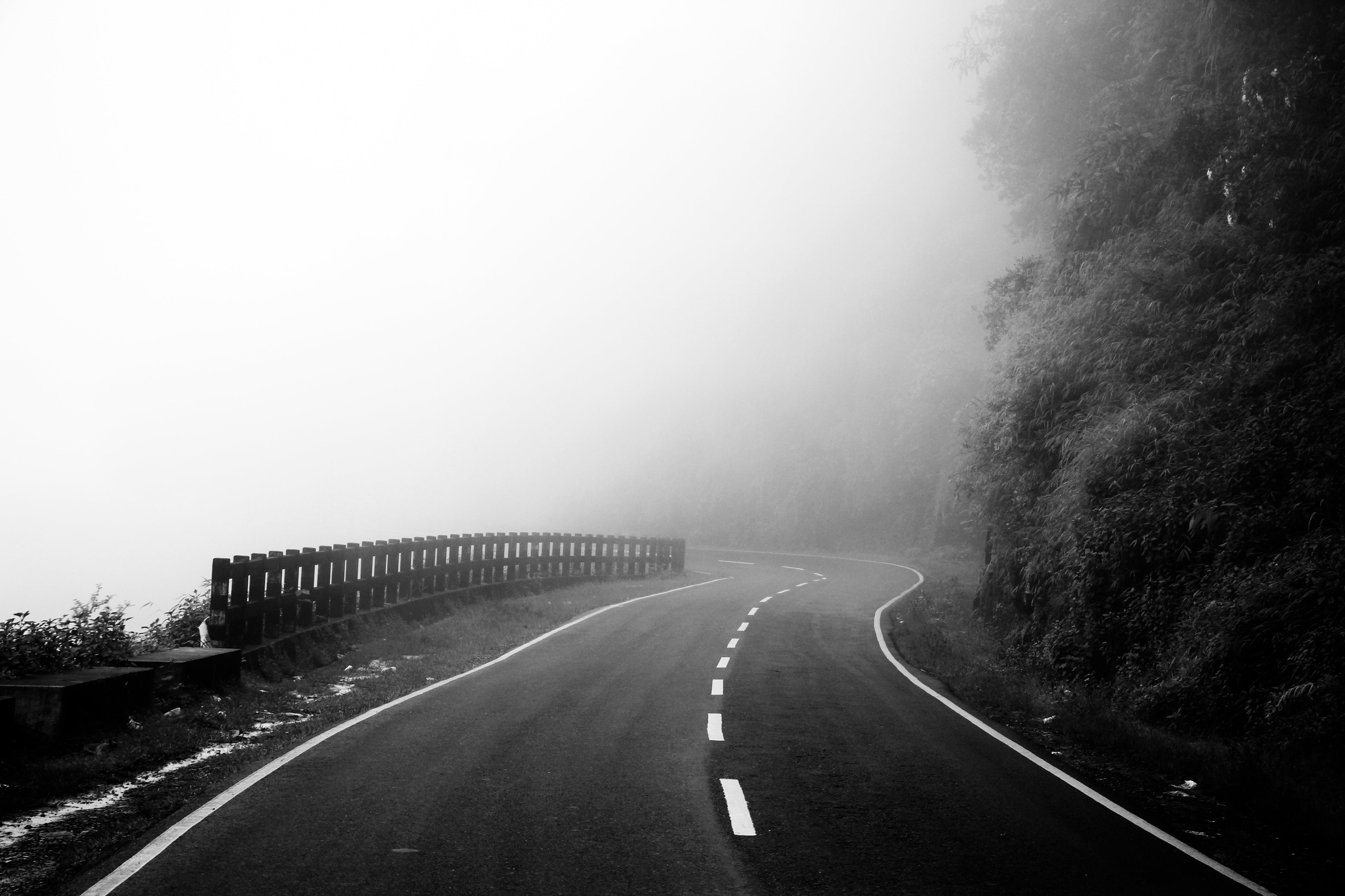 Free stock photo of black and white, cloud, curvy road, empty street