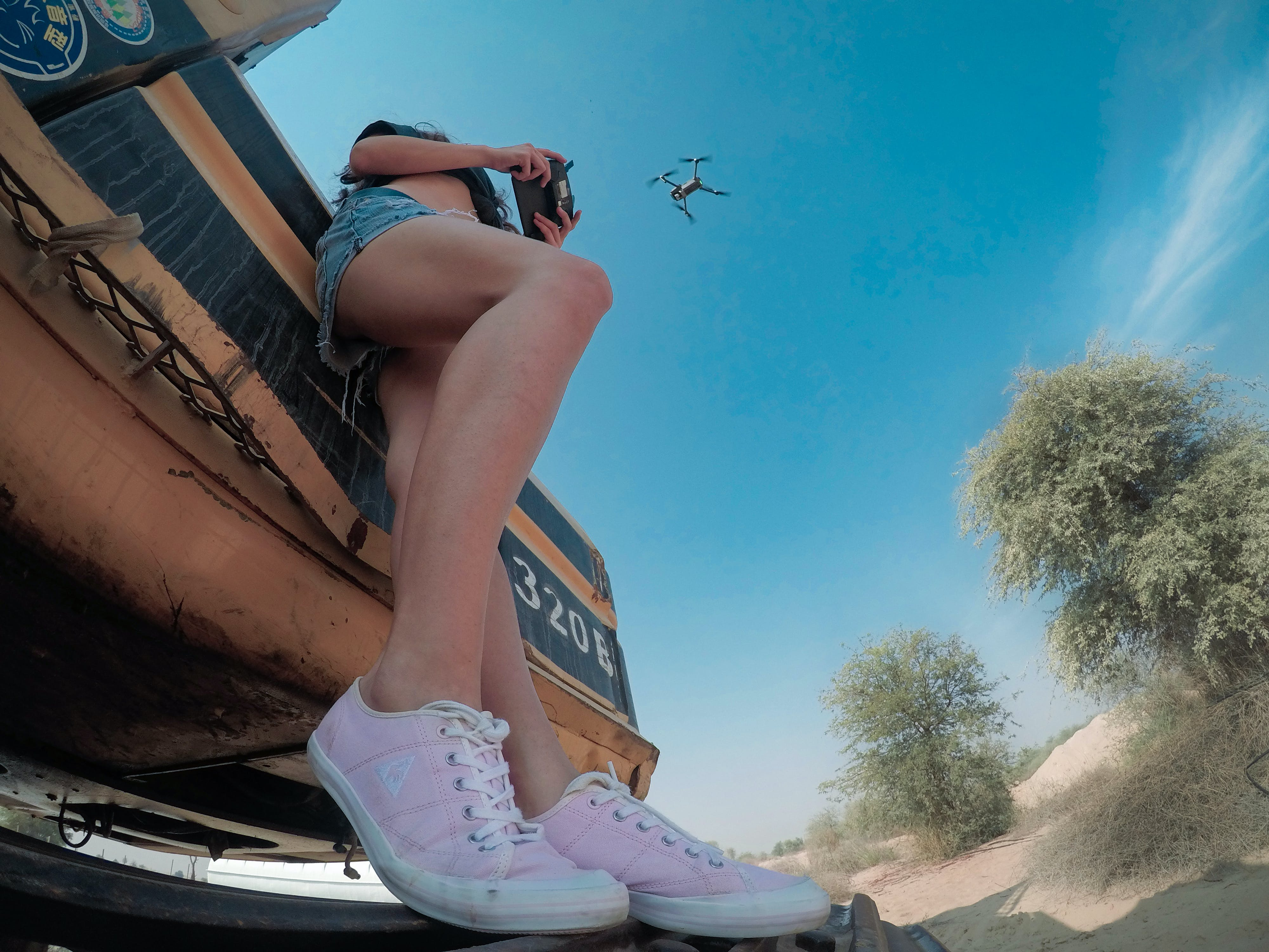 of #outdoorchallenge, asian girl, blue sky, drone