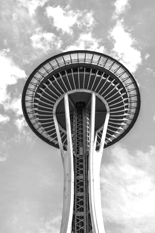 Grayscale Photo of Space Needle Tower