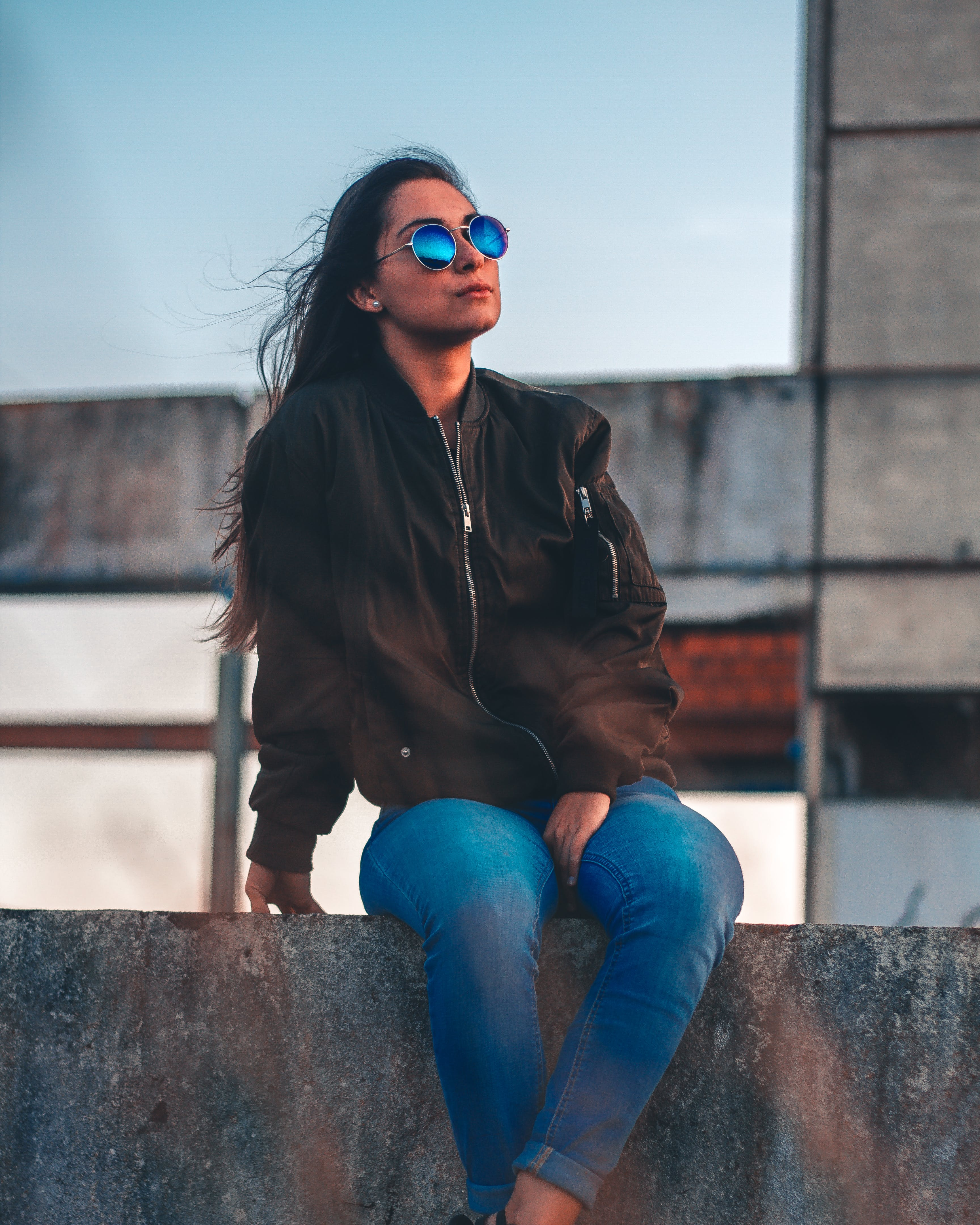 Woman Wearing Black Bomber Jacket