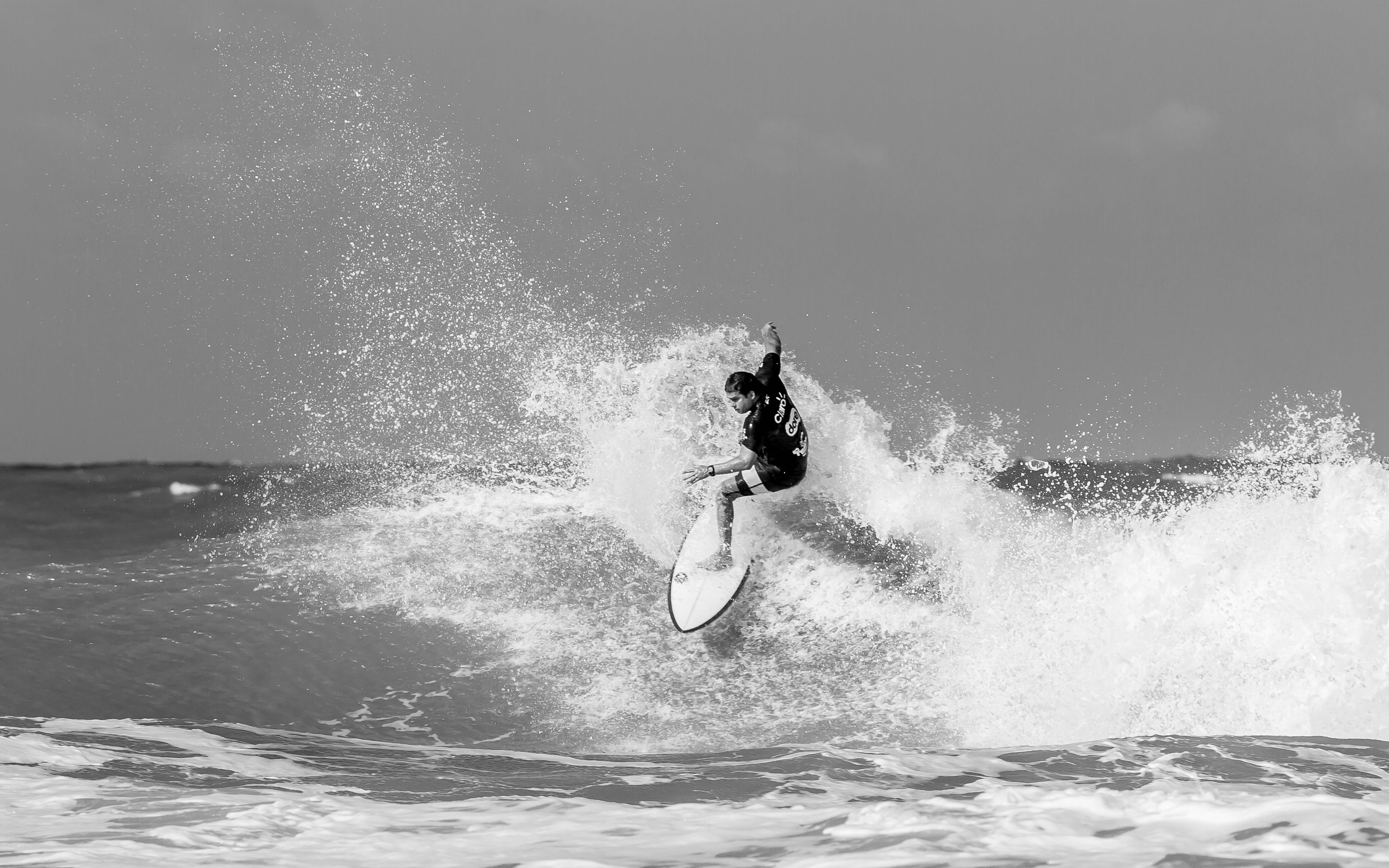 Grayscale Photography of Surfer
