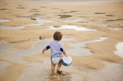 Toddler Walking on Shoreline