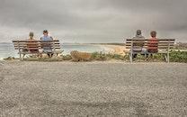 bench, sea, road