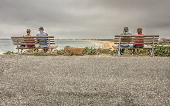 Two Couple Sitting on Bench Near Beach