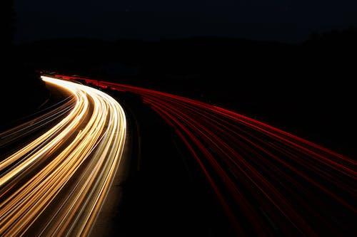 光跡, 光迹, 夜燈, 時間曝光 的 免费素材照片