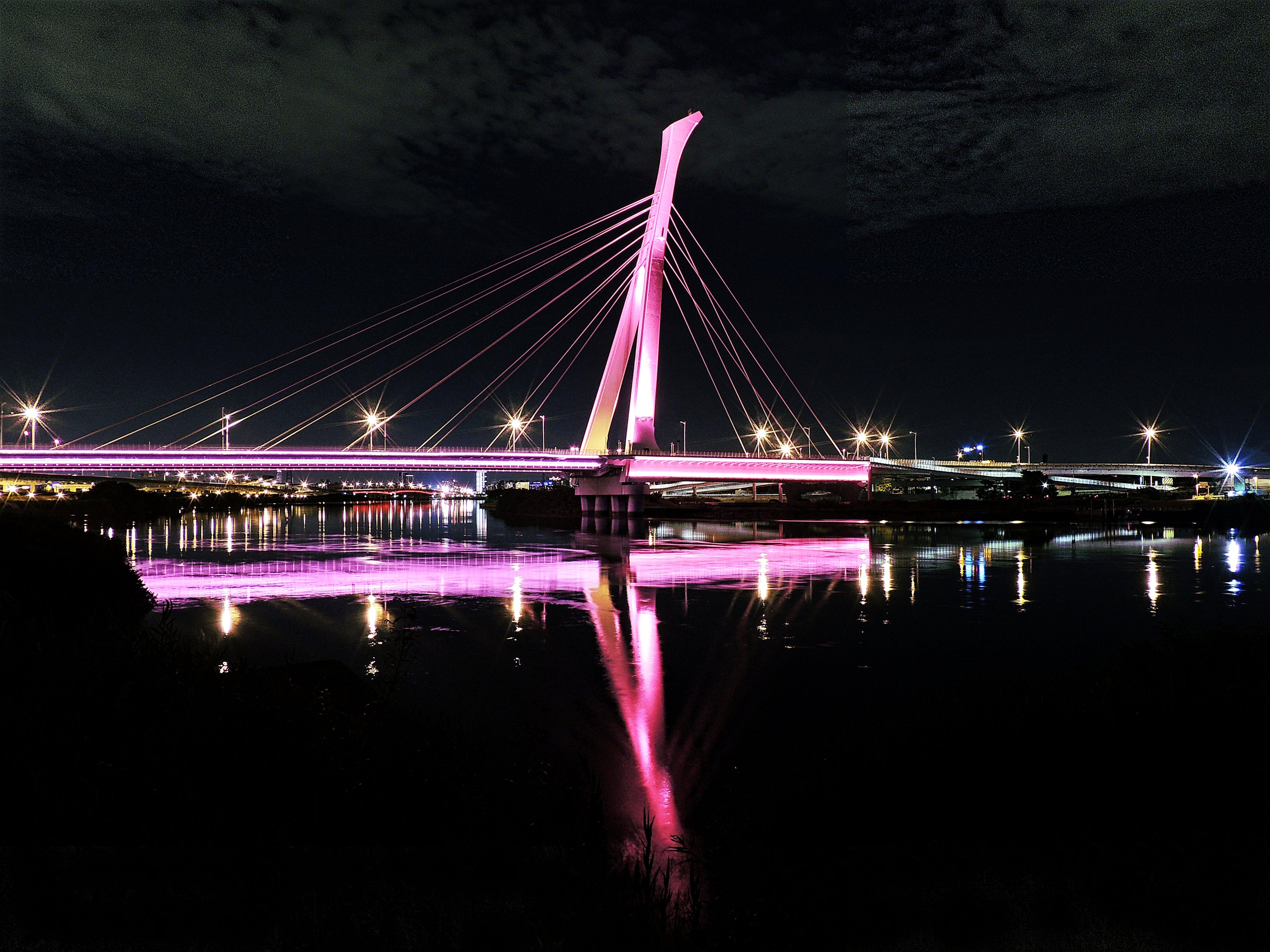 Lightened Bridge during Nighttime