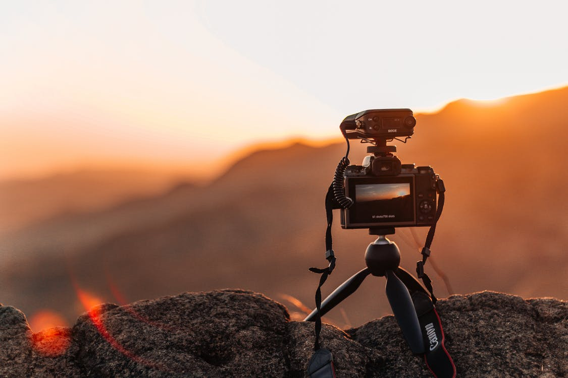 Selective Focus Photography of Action Camera With Stand