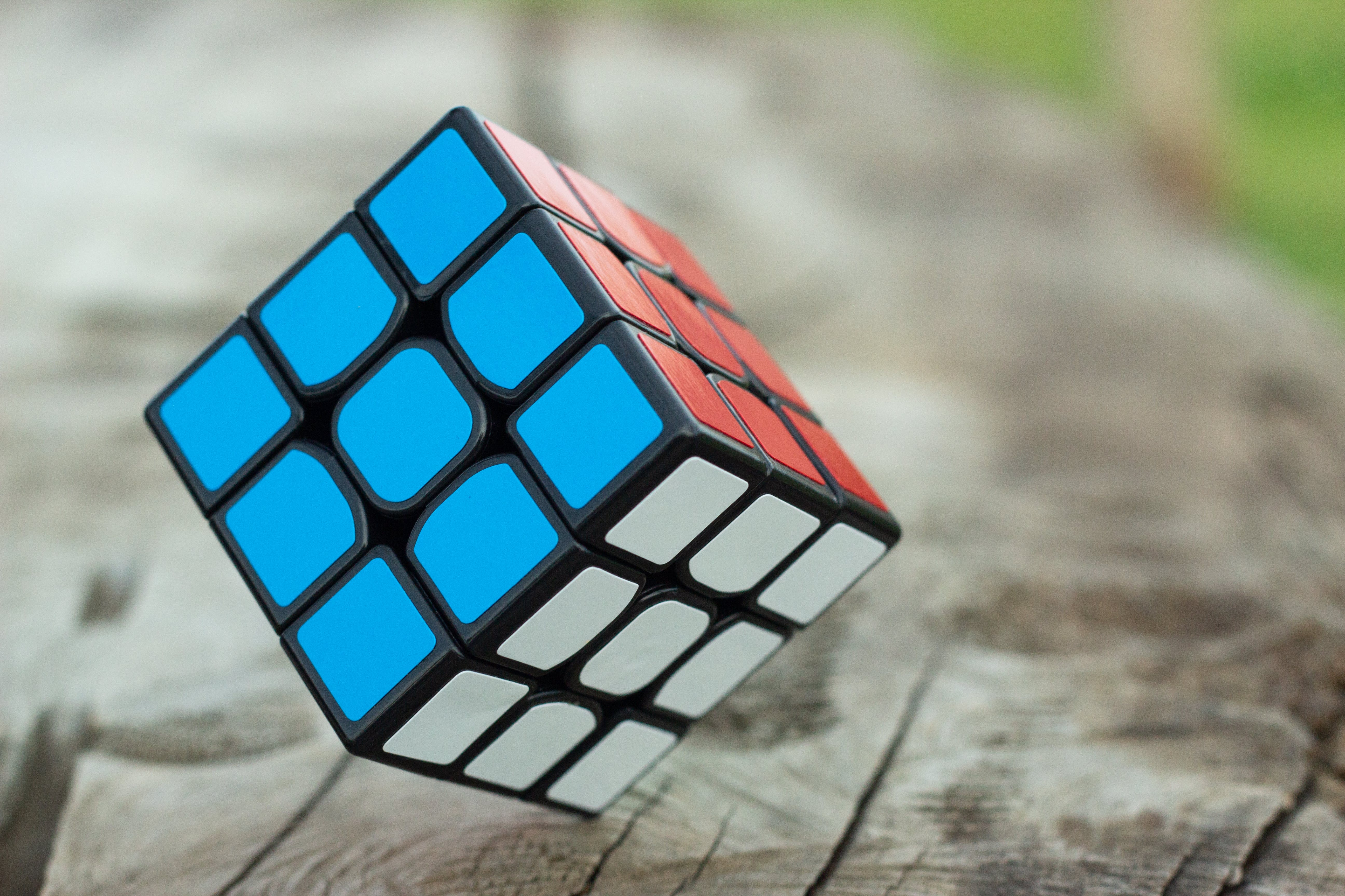 3 by 3 Rubik's Cube Selective Focus Photography