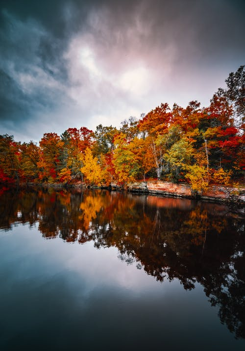 Autumn park with calm pond and colorful trees