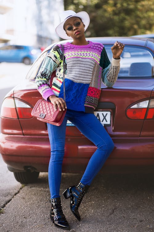 Woman Wearing Colorful Sweater
