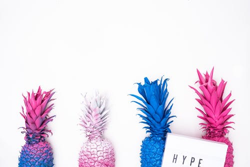 Pink, White, and Blue Pineapples