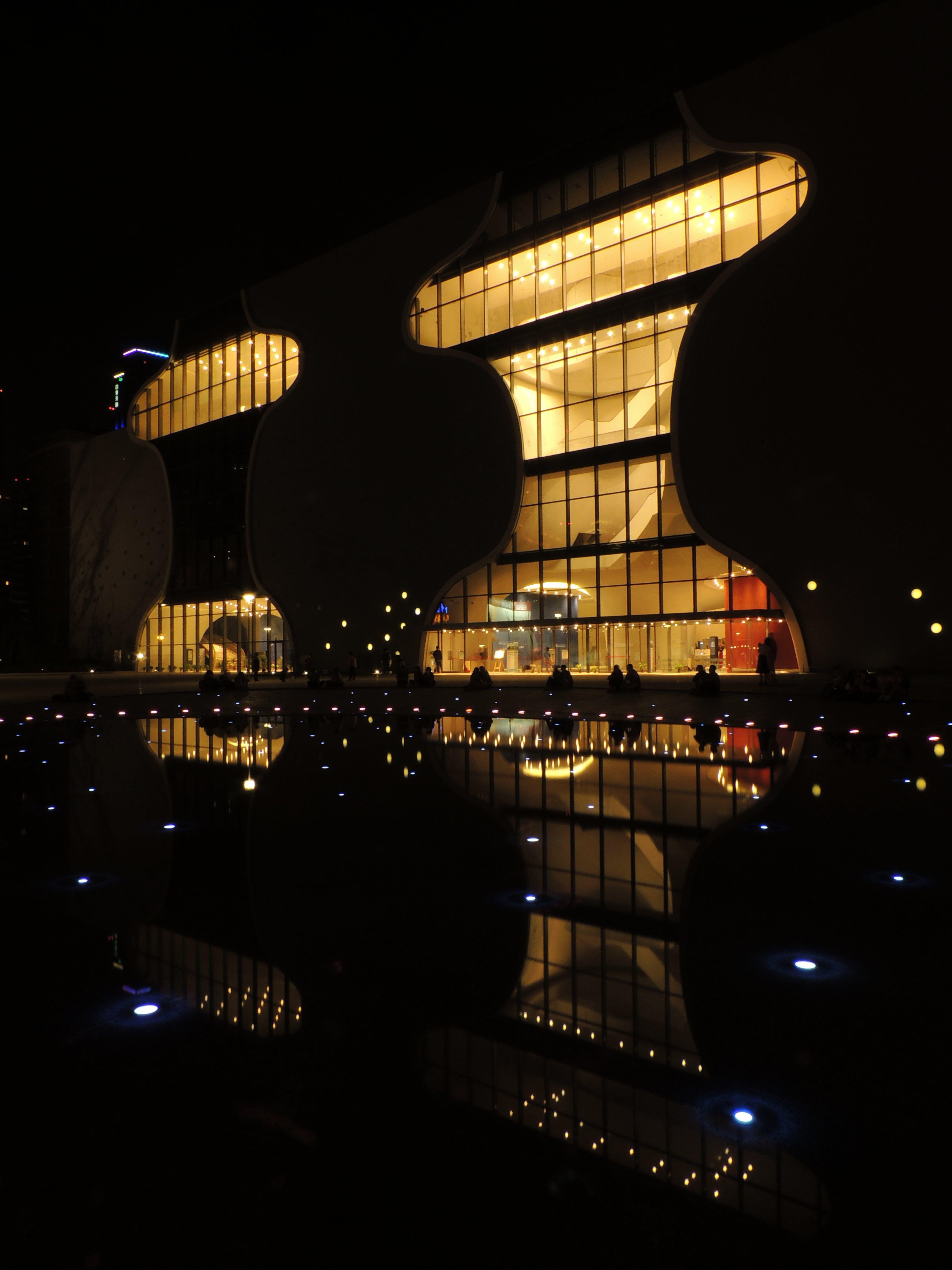 Free stock photo of light, city, water, dark