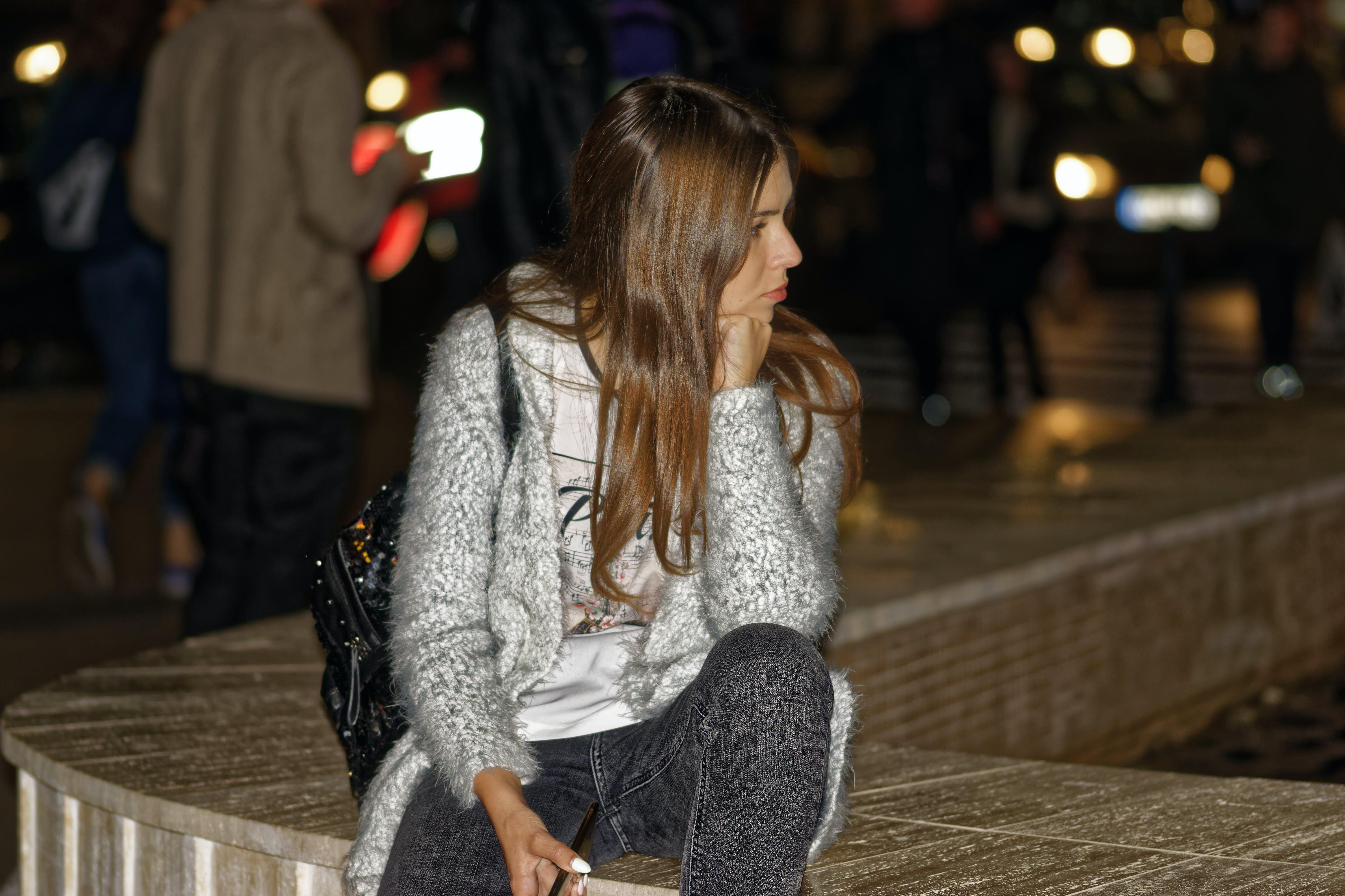 Free stock photo of city, girl, sitting, evening