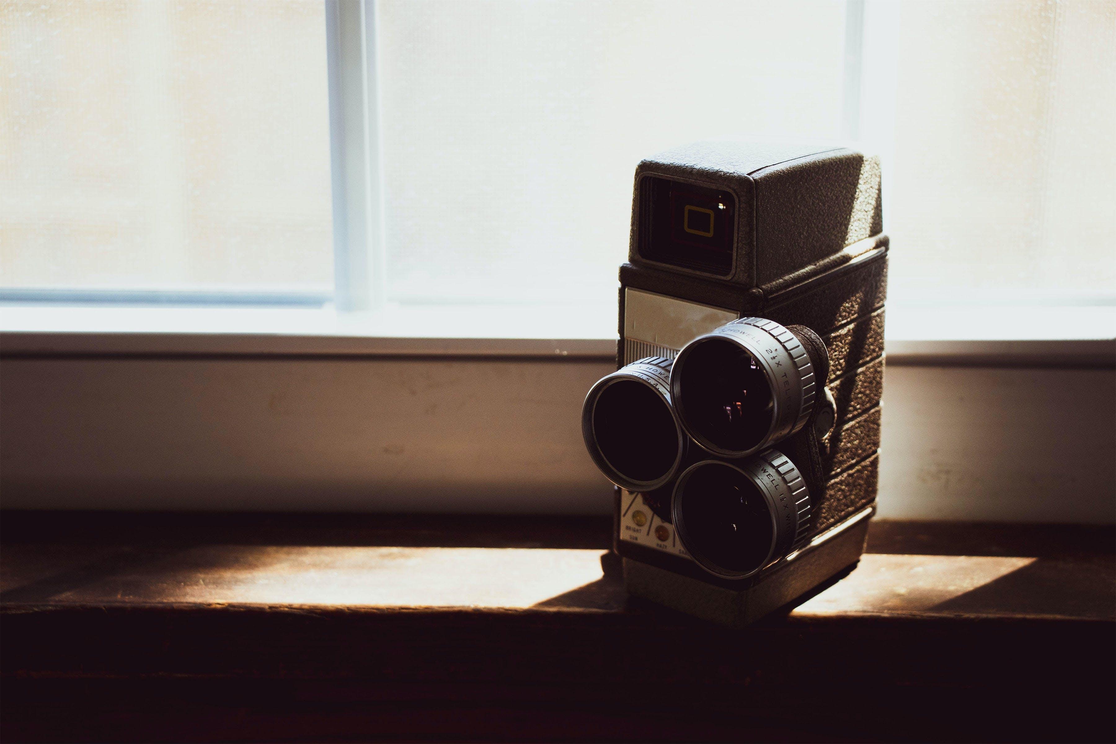 Black Vintage Camera On Table