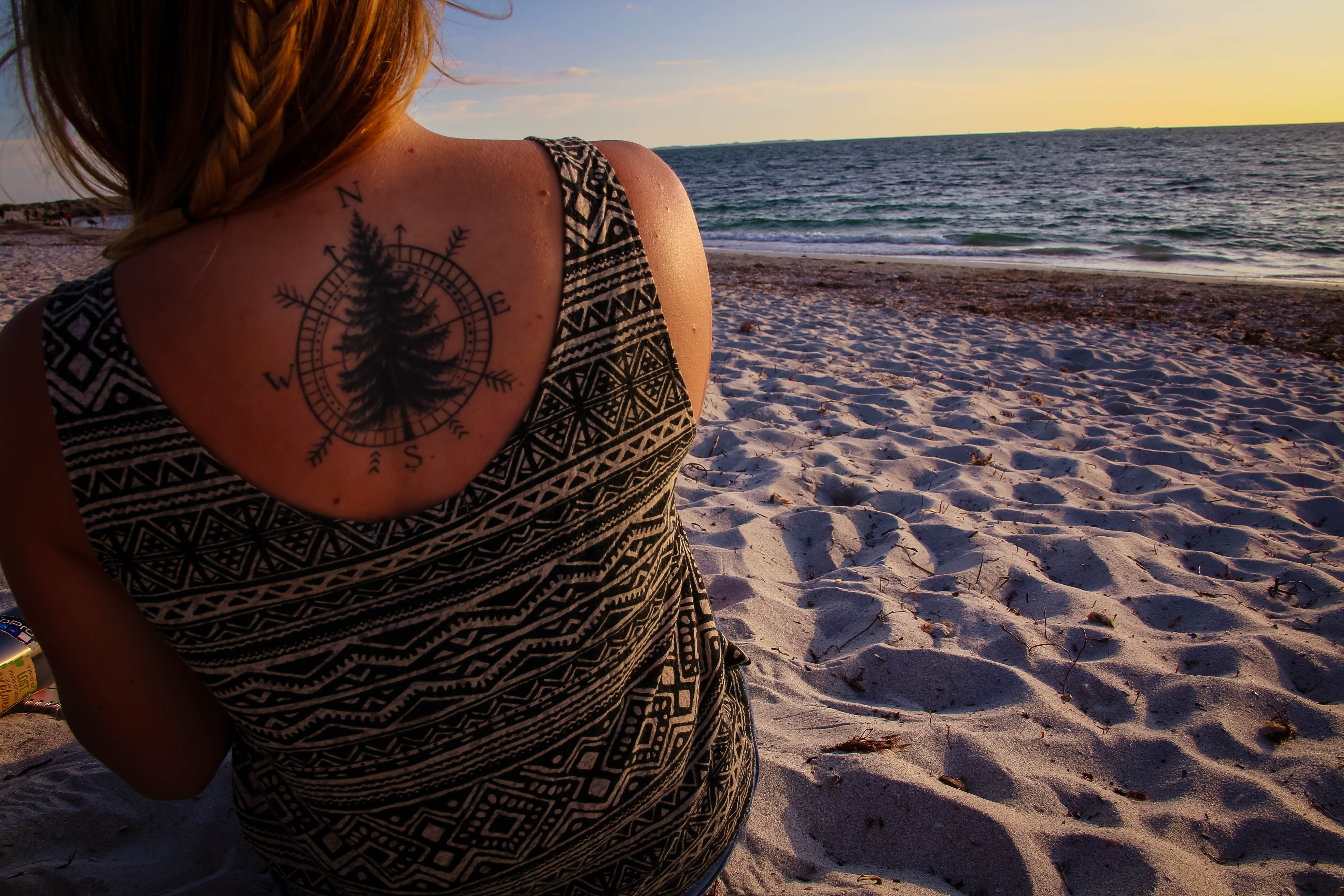 Free stock photo of beach, compass, ocean, tattoo