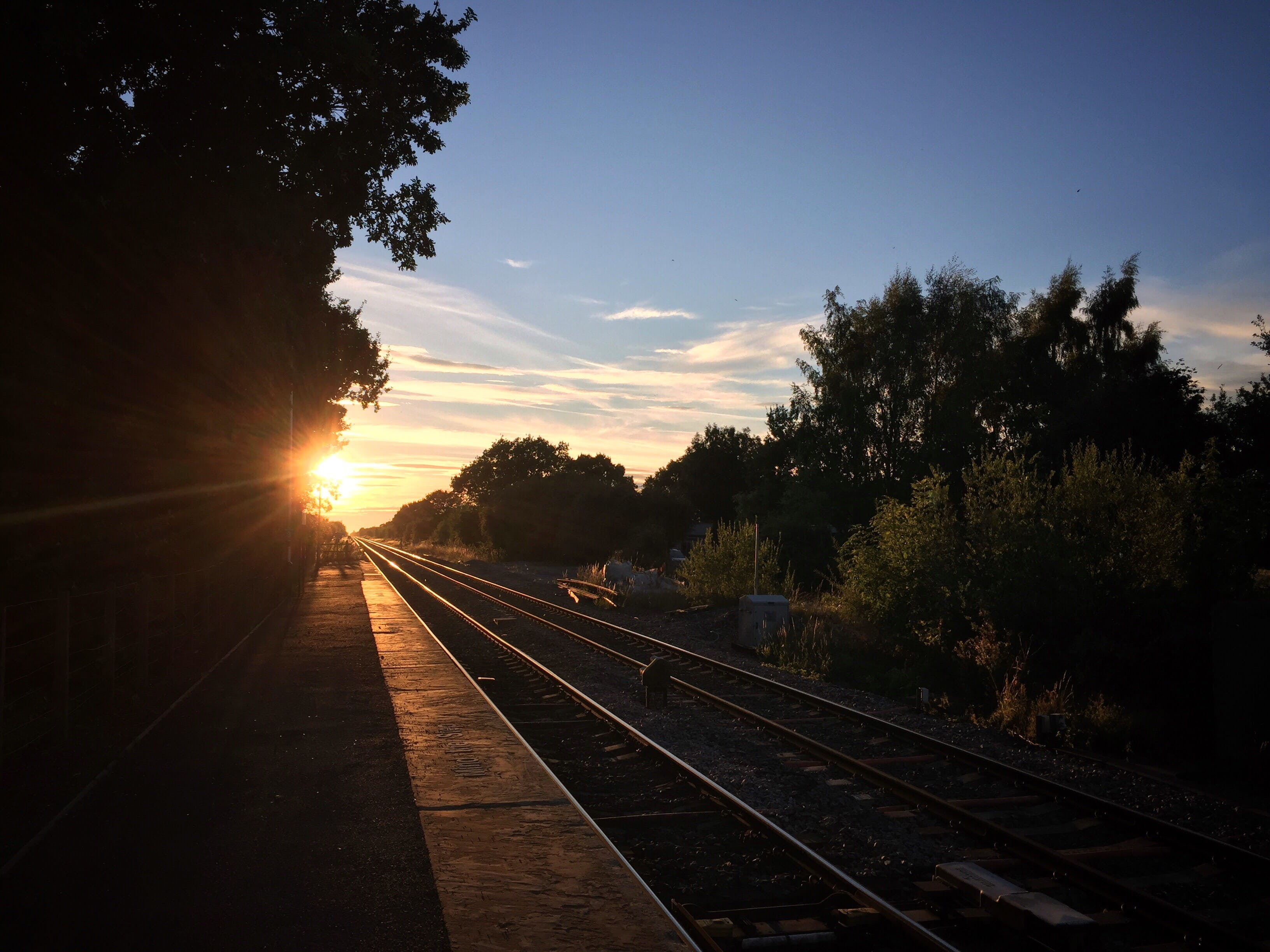 Free stock photo of sunset, train tracks
