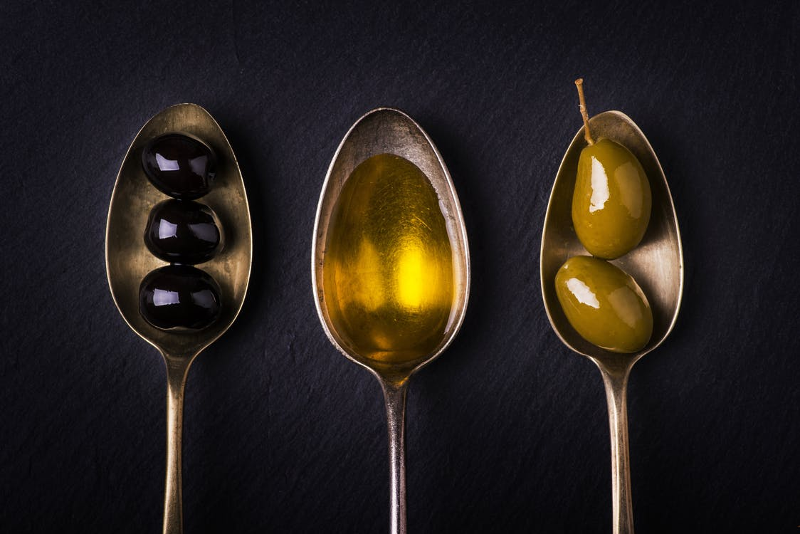Three Spoons, Olive Fruits, and Olive Oil