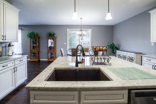 White Marble-top Kitchen Island With Sink