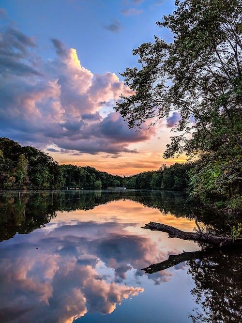 Gratis arkivbilde med kajakker, kajakkpadling, skyer, solnedgang