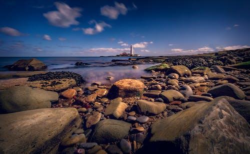 akşam, deniz, deniz feneri, deniz manzarası içeren Ücretsiz stok fotoğraf