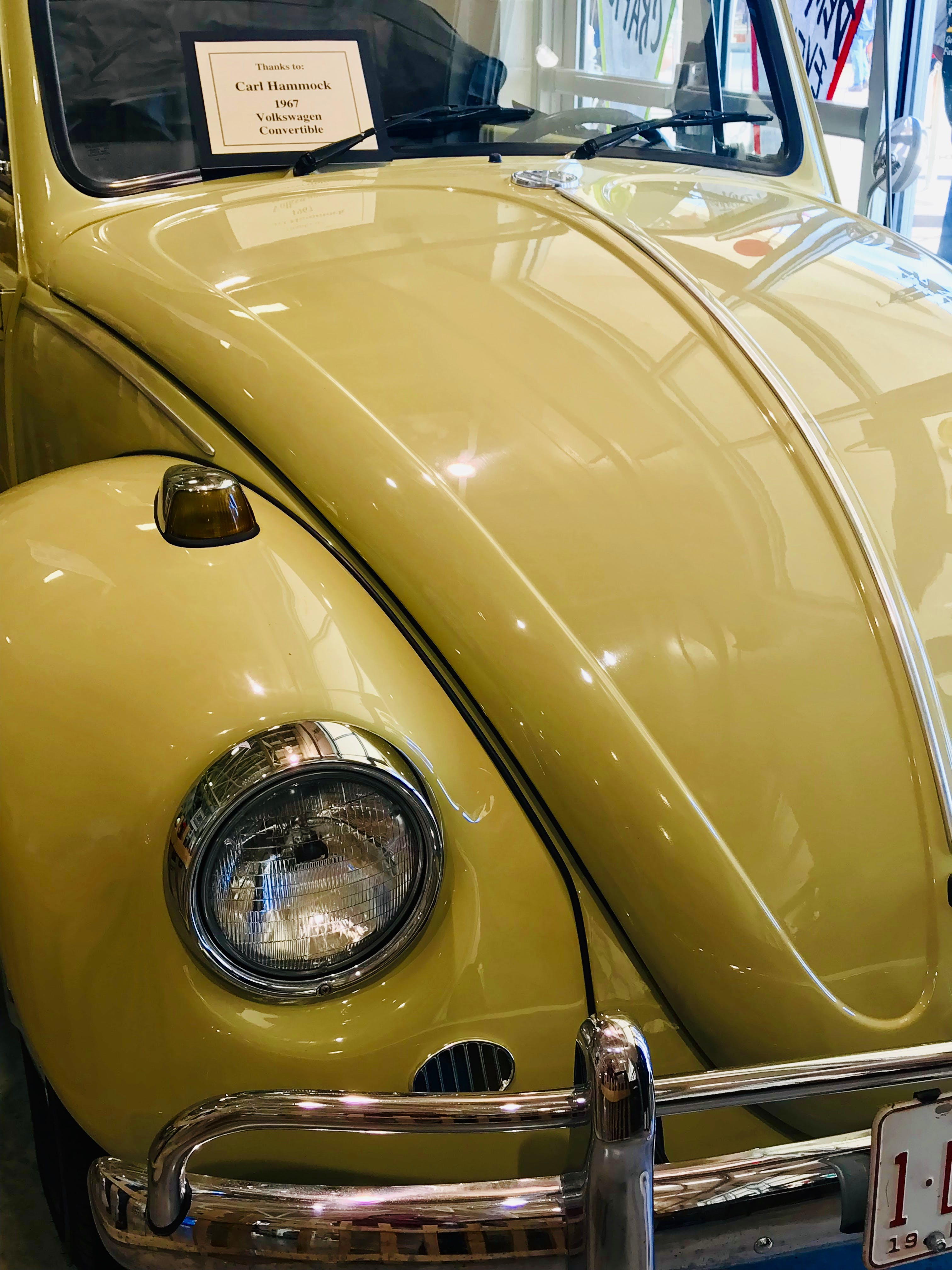 Free stock photo of car show, vintage car, Volkswagen Beetle, yellow