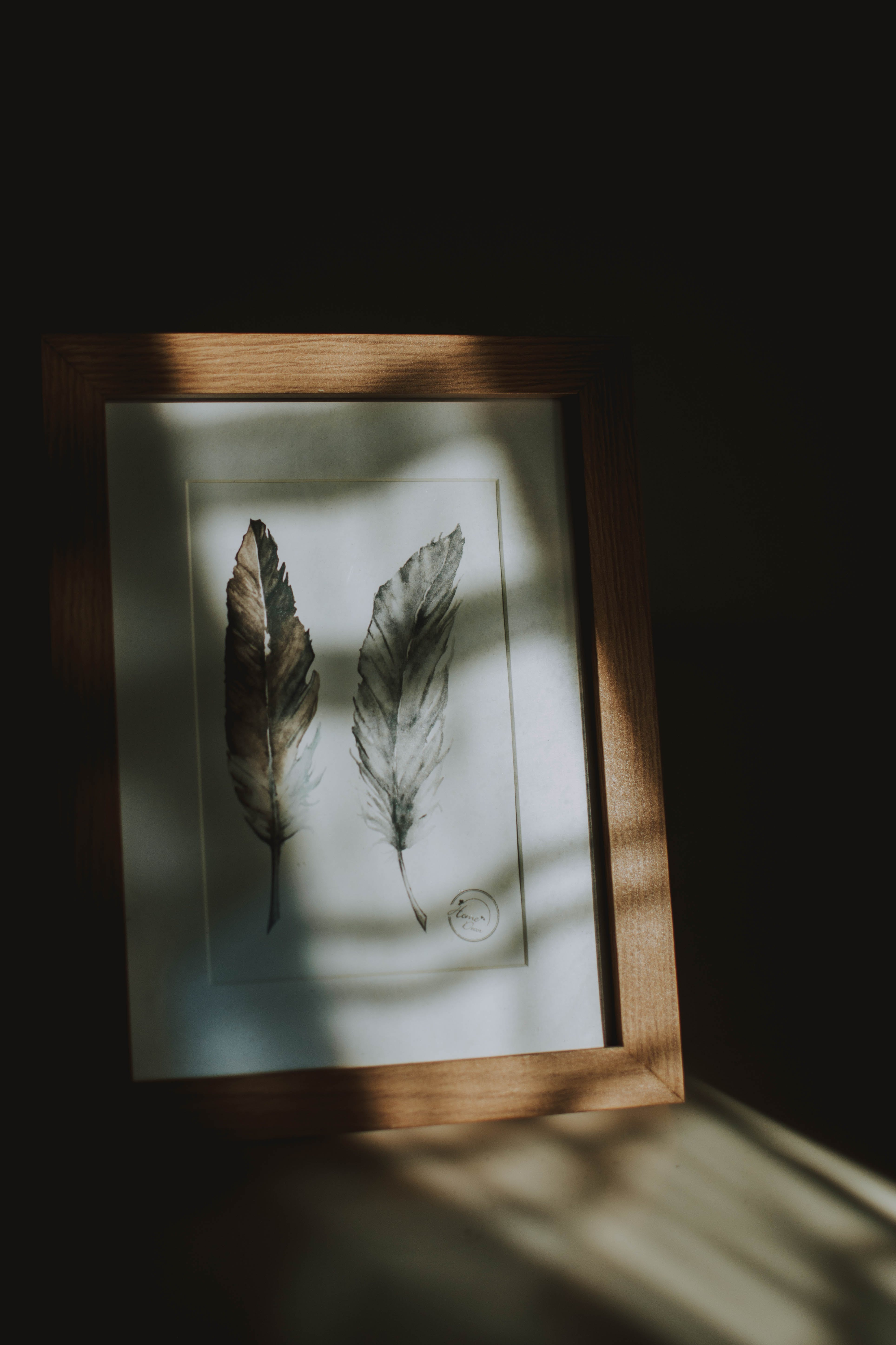 Leaf Painting With Brown Wooden Frame