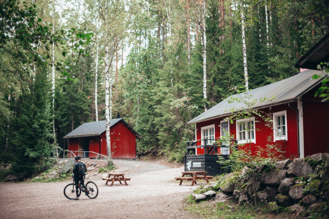 Red and White Wooden Houses Surrounded With Trees