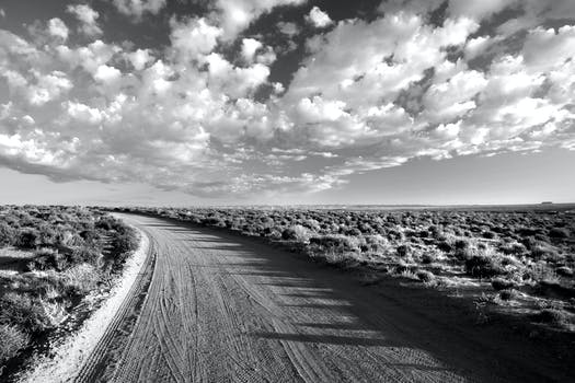 Grayscale photo of empty road between grass field under cloudy sky