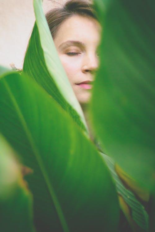 감은 눈, 사람, 순수, 식물군의 무료 스톡 사진