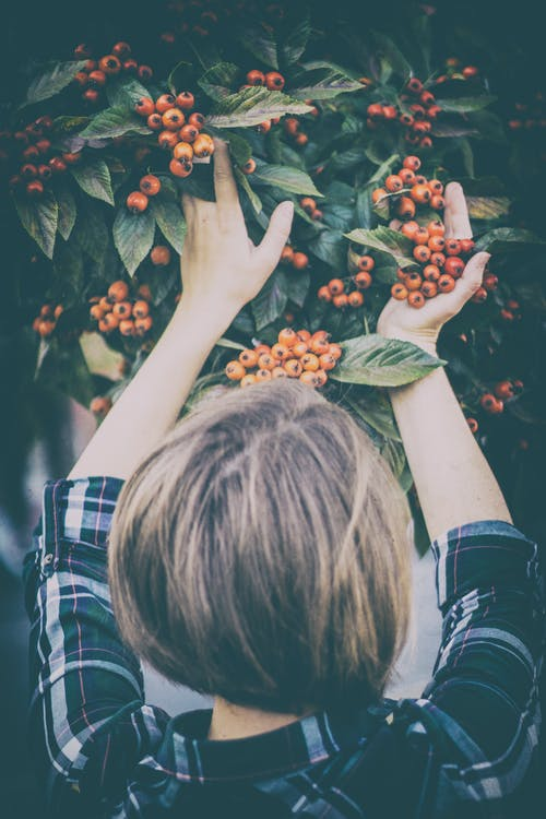 Woman Holding Orange Berries