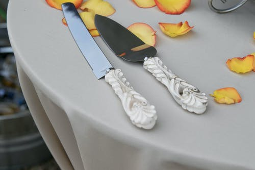 Free stock photo of cake knife, table settiing, wedding, white