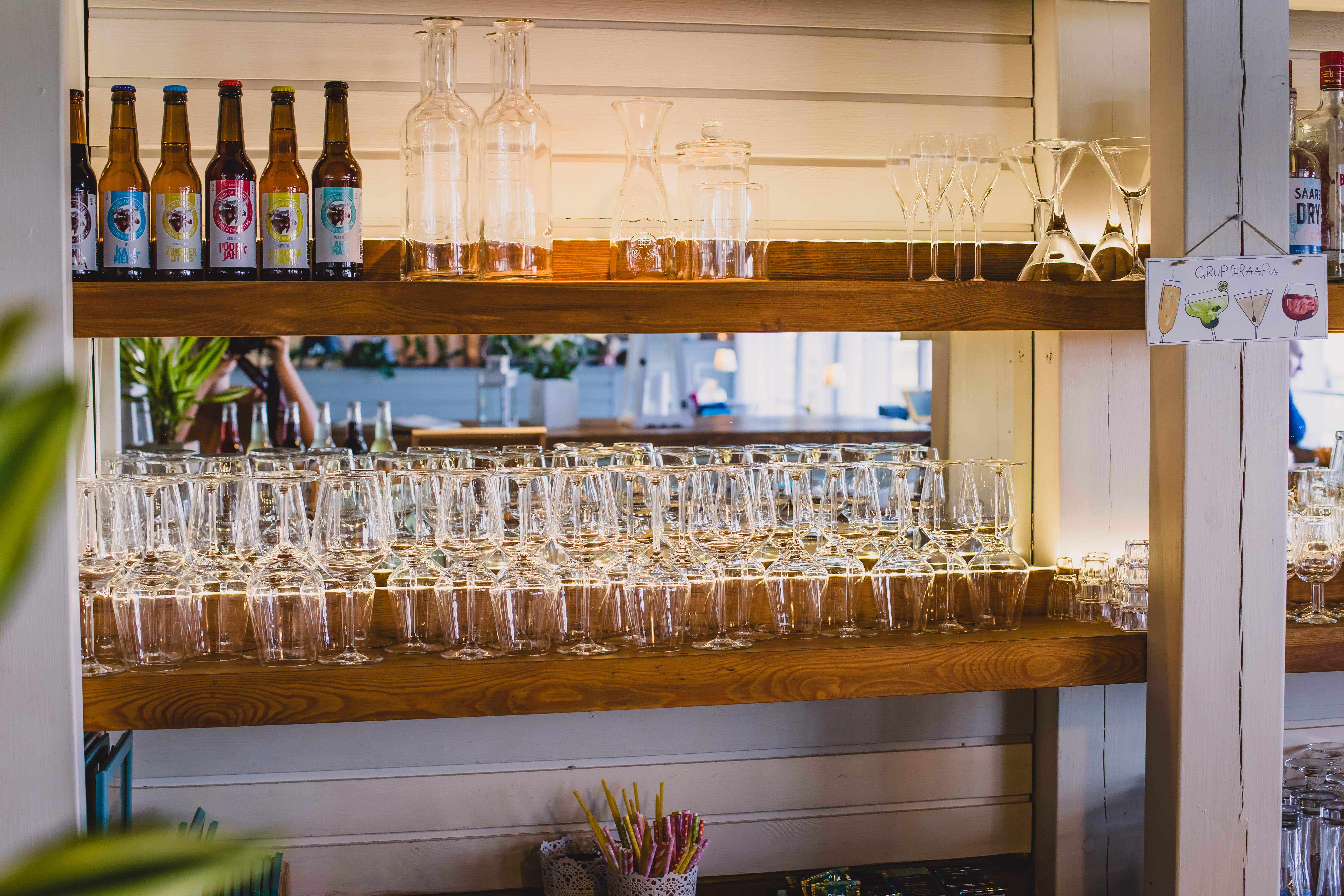 Clear Drinking Glass Collection on Shelf