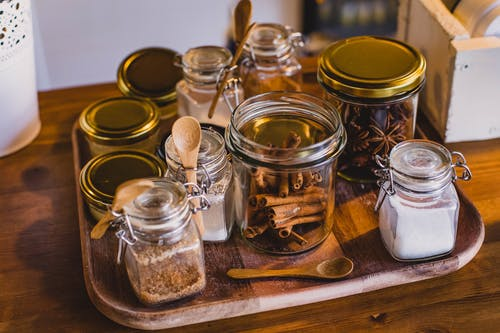 Clear Glass Jars On Tray