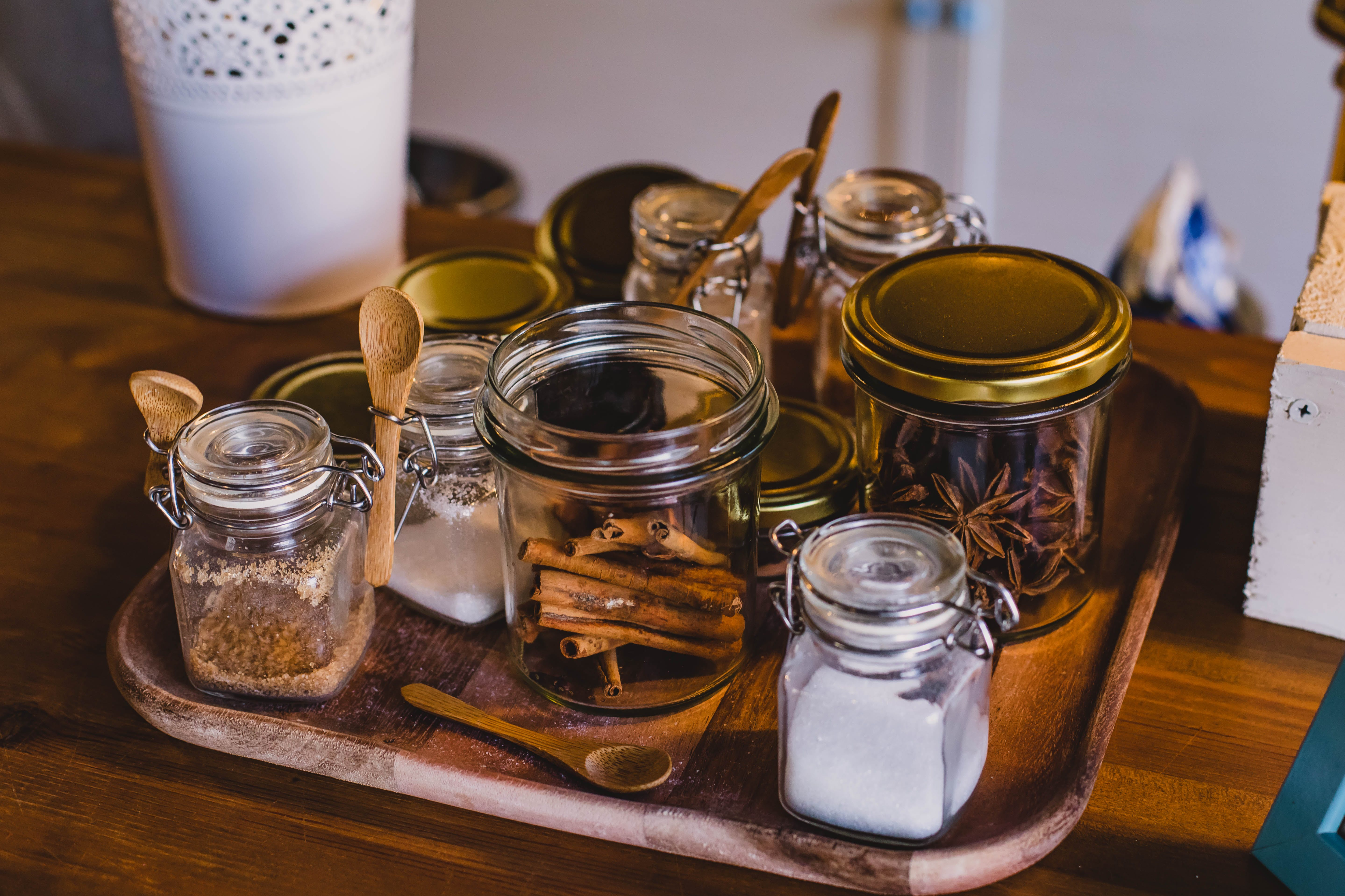 Clear Glass Jars on Top of Tray