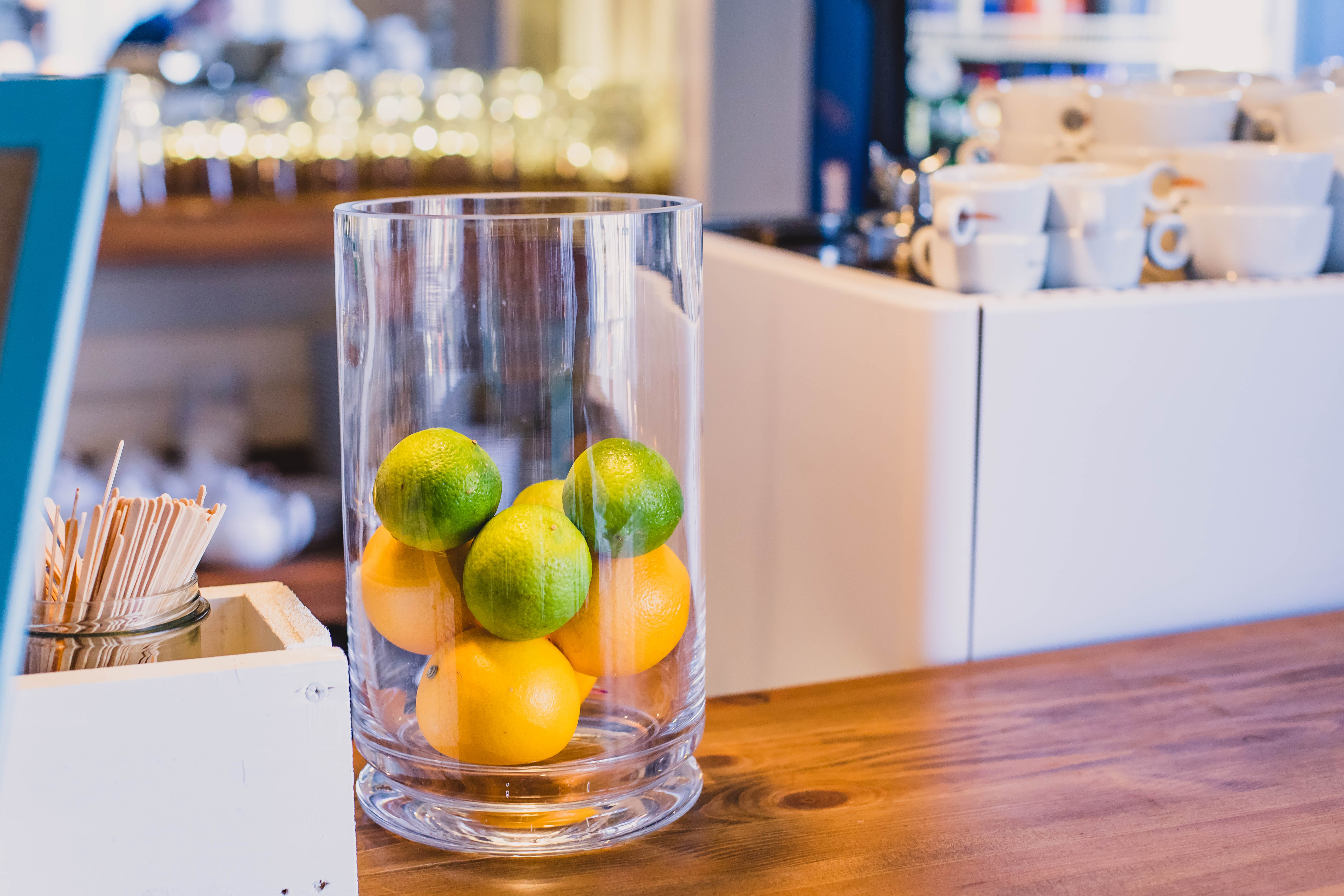 Photo of Citrus Fruits Inside a Clear Glass