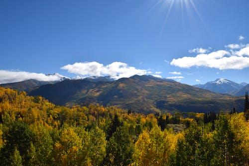 ağaçlar, dağ, doğa, gökyüzü içeren Ücretsiz stok fotoğraf