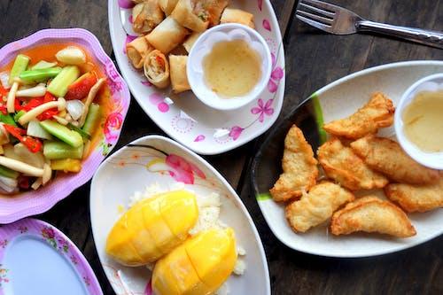 Free stock photo of asian food, food, gyoza, mango and sticky rice